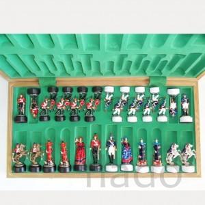 Шахматы Бородино металлокерамика в складной доске массив дуба 65 см.