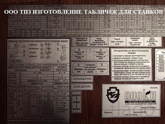 Таблички для токарных станков   16К20, 16В20, 16К25
