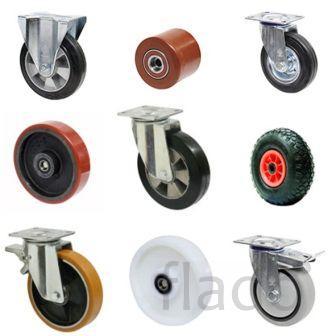 Колёса, колёсные опоры и ролики для  тележек и штабелеров