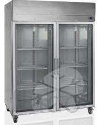 Шкаф холодильный со стеклом TEFCOLD RK1420G нержавеющий