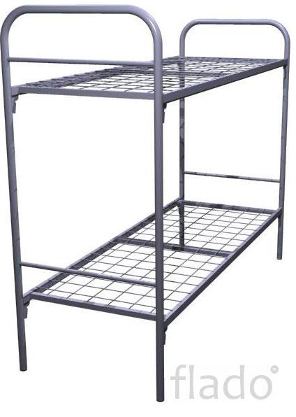 Кровати металлические двухъярусные для казарм, для больниц оптом