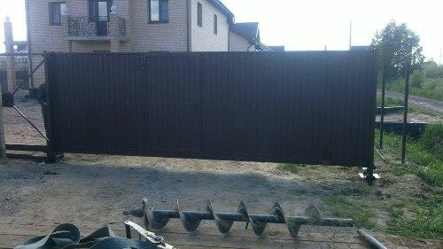 Откатные ворота 3,5на2,0 м со встроенной калиткой