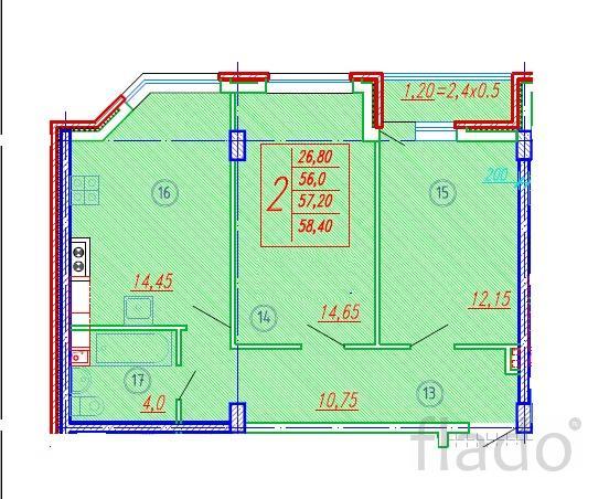 2-к квартира, 58 м², 2/10 эт.