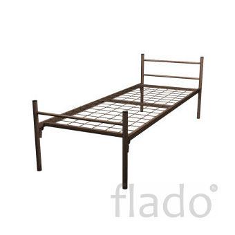 Кровать металлическая одноярусная усиленная (спинка металлическая труб