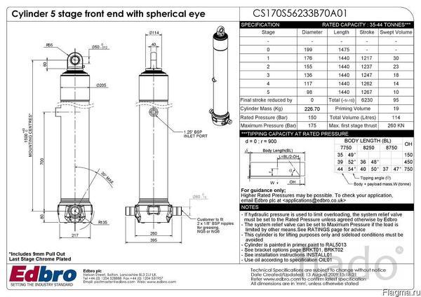 Гидроцилиндр фронтальный  EDBRO  модель CS170S56233B70A01