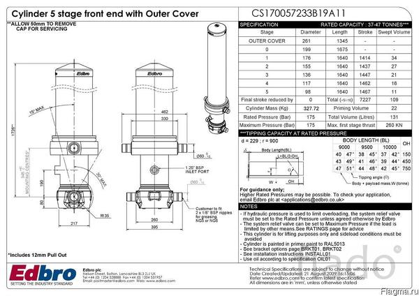 Гидроцилиндр  EDBRO  модель CS170057233B19A11