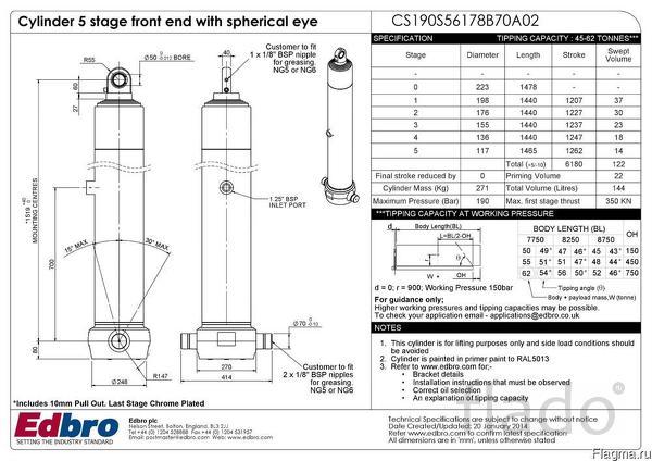 Гидроцилиндр фронтальный телескопический Edbro CS190S56178B70A02