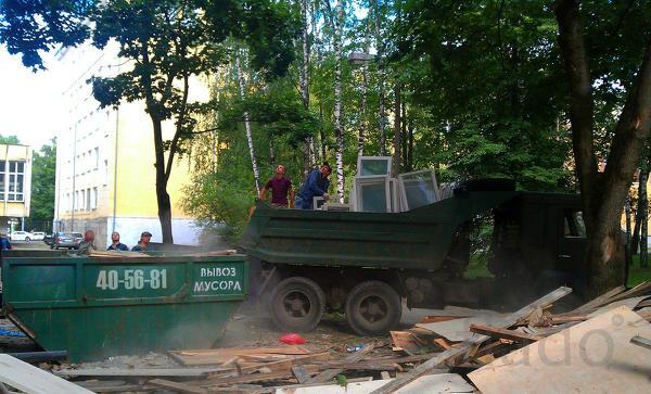 Вывоз мусора контейнерами и машинами