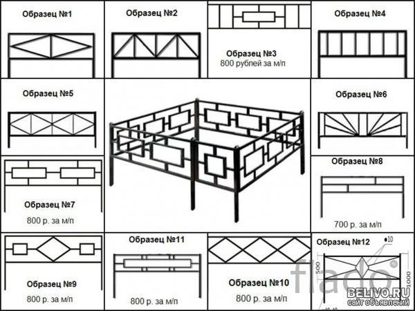 Производим ритуальные ограды из профильной трубы 20х20 мм