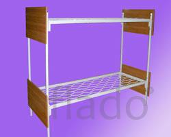 Кровати металлические двухярусные со спинками ДСП