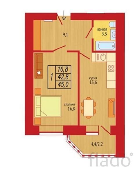1-к квартира, 45 м², 4/16 эт.