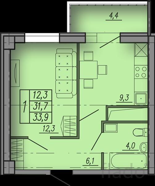 1-к квартира, 34 м², 5/18 эт.