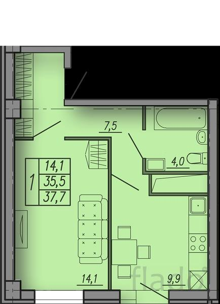1-к квартира, 37 м², 4/18 эт.