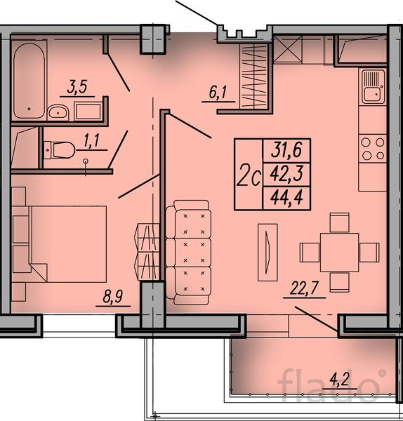 1-к квартира, 44 м², 3/18 эт.
