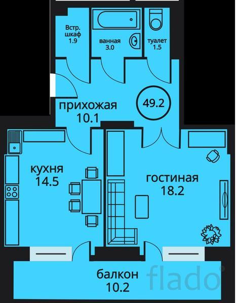 1-к квартира, 49 м², 5/17 эт.