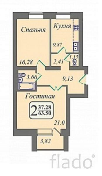 2-к квартира, 63 м², 1/10 эт.