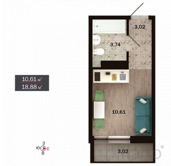 1-к квартира, 19 м², 3/15 эт.
