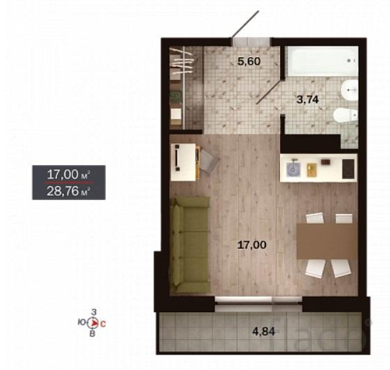 1-к квартира, 29 м², 3/15 эт.