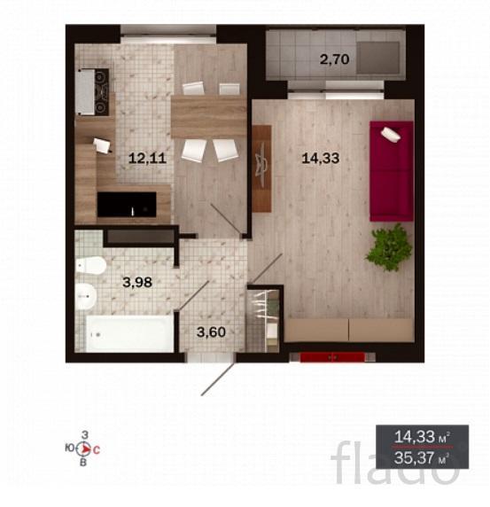 1-к квартира, 35 м², 4/15 эт.