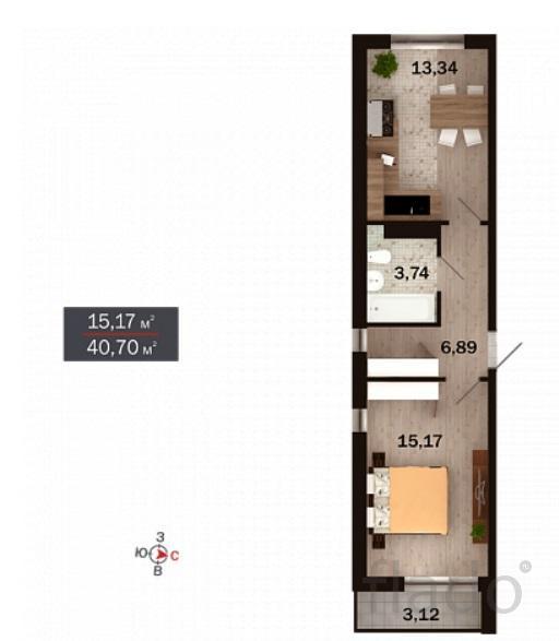 1-к квартира, 41 м², 4/15 эт.