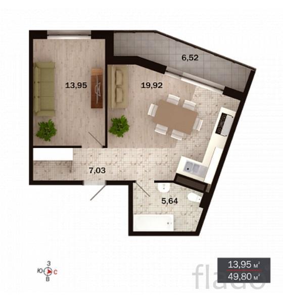 2-к квартира, 50 м², 4/15 эт.