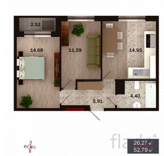 2-к квартира, 53 м², 4/15 эт.