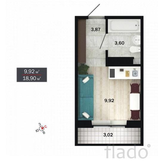 Студия, 19 м², 4/14 эт.