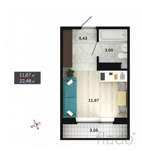 1-к квартира, 23 м², 3/14 эт.