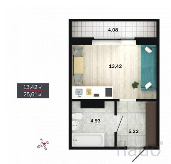1-к квартира, 26 м², 5/14 эт.