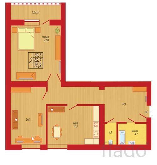 2-к квартира, 82 м², 3/16 эт.