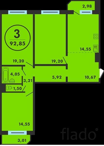 3-к квартира, 92 м², 5/14 эт.