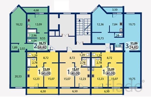 3-к квартира, 74 м², 1/10 эт.