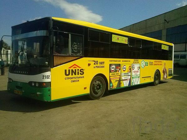 Бортовая реклама на автобусах города Пенза.