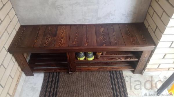Скамейка-обувница из массива Сибирской Лиственницы