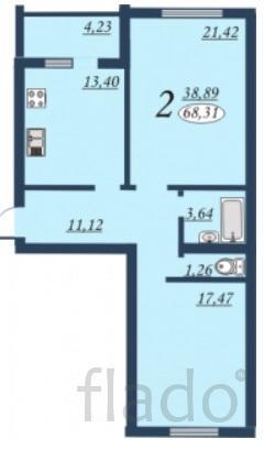 2-к квартира, 68 м², 3/9 эт.