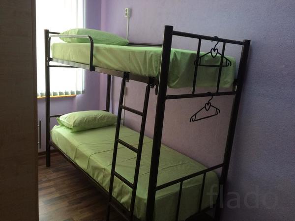 Кровати односпальные, двухъярусные на металлокаркасе для хостелов, гос