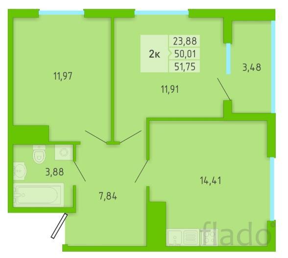 2-к квартира, 51 м², 4/16 эт.