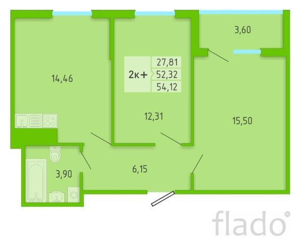 2-к квартира, 54 м², 3/16 эт.