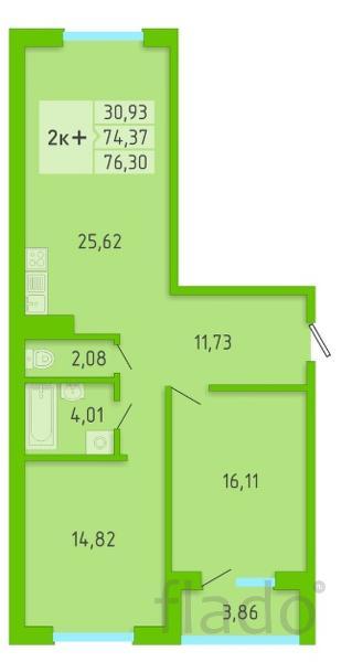 2-к квартира, 76 м², 3/16 эт.