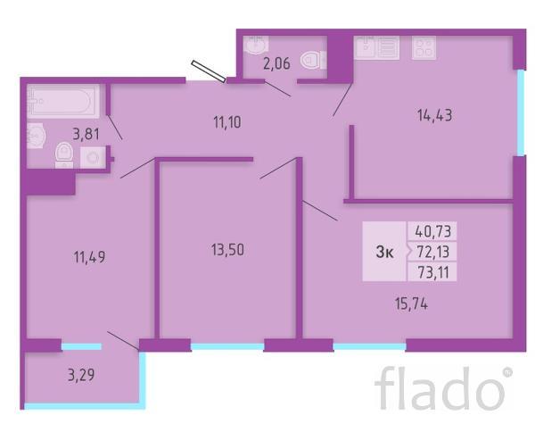 3-к квартира, 73 м², 3/16 эт.