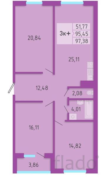 3-к квартира, 97 м², 2/16 эт.