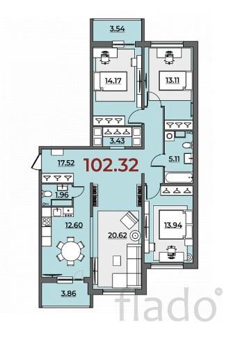 3-к квартира, 102 м², 3/10 эт.