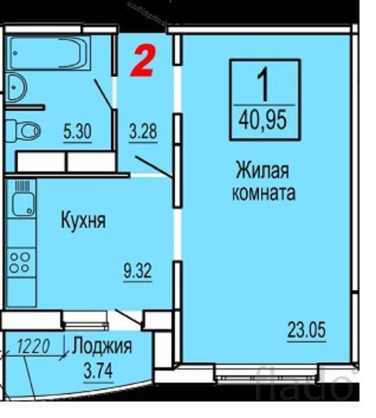 1-к квартира, 41 м², 3/14 эт.