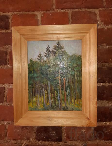 Картина в раме. Лес. Пейзаж. Масло картон. Авторская работа. Худ. В. Г