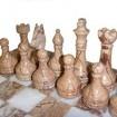 Шахматы из массива природного камня рисунчатая яшма - мрамор 30 см.