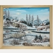 Большая Картина на бересте - Зимняя деревня 65 х 56 см.