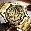 Стильные часы skeleton gold